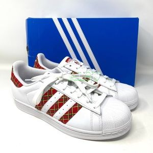 Adidas Superstar Leather White Red Women Sneakers